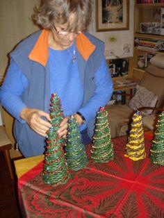 pletení z papíru vánoční dekorace