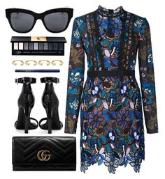 """""""Dinner Date"""" by smartbuyglasses-uk ❤ liked on Polyvore featuring self-portrait, Dolce&Gabbana, Gucci, Yves Saint Laurent, Joanna Laura Constantine and Blue"""