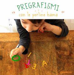 Quandofuoripiove: pregrafismi con le perline hama e pYssla  HAma e Pyssla beads ideas to play with letters