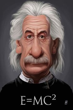 Celebrity Sunday ~ Albert Einstein E=MC² by Rob Snow Albert Einstein Poster, Caricature Artist, Caricature Drawing, Funny Caricatures, Celebrity Caricatures, Cartoon Faces, Funny Faces, Rob Snow, Canvas Artwork