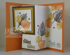 Stampin' Up! Vintage Leaves and a Pop-Out Swing Card. YouTube Video included. Debbie Henderson, Debbie's Designs.