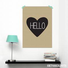 Black & white heart poster by Oktoberdots Heart Poster, Black And White Heart, Kids Room, A3, Hearts, Dots, Home Decor, Stitches, Decoration Home