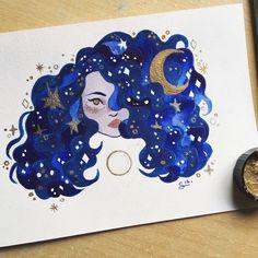 Blue velvet 🌙 Preparing a series of mini originals that will be available in my shop in September ! Marker Kunst, Marker Art, Pretty Art, Cute Art, Art Sketchbook, Cute Drawings, Art Inspo, Art Sketches, Amazing Art