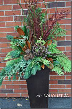 beautiful custom Christmas arrangements. Looks beautiful in an outdoor urn.