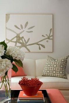 Gorgeous color inspiration. The organic wall art goes nicely with the crisp geometric patterned pillow in the same hue.