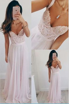 Spaghetti Straps Pink Lace Prom Dresses,Sweetheart Long Prom Dress,Chiffon Evening Dress Prom Gowns,Graduation Dresses Party Dress,55 dress heels formal