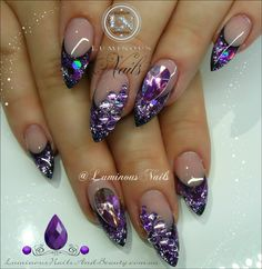 Luminous NailsGlittery Luminous Purple Nails... Sculptured Acrylic with Young Nails cover Pink, Frosted Pink & Lavender Glitter, Indigo Illumination Aquarius, Glittergasm Funky fine Violet, & Purple crystals.