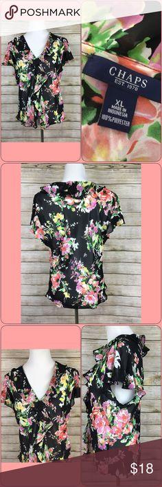 65517e83ec2 Chaps Woman Ruffle Blouse Size XL Floral Chaps Woman Ruffle Blouse Size XL  Floral