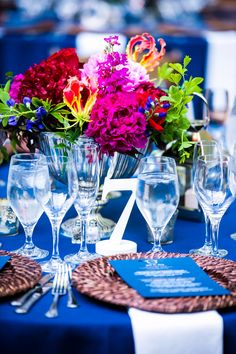 Vibrant pink and blue summer wedding