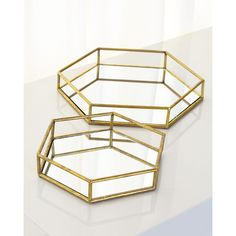 Mirrored Hexagonal Trays ($125) ❤ liked on Polyvore featuring home, home decor, small item storage, metal home decor, metal tray, mirrored tray, mirrored home decor and hexagon tray