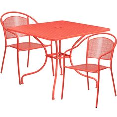 Flash Furniture Square Coral Indoor-Outdoor Steel Patio Table Set with 2 Round Back Chairs Outdoor Dining Set, Patio Dining, Patio Table, Patio Chairs, Indoor Outdoor, Arm Chairs, Outdoor Ideas, Dining Chairs, 3 Piece Bistro Set