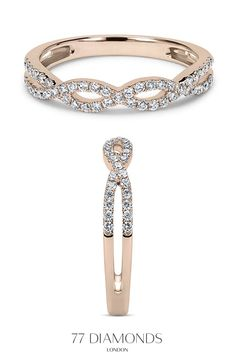 The Cleo eternity ring showcases two intertwined bands that are half-set with brilliant diamonds.