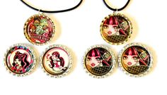 2 Sets Monster High Bottle Caps and by BUTTONSBADGESANDMORE