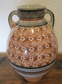 Tonala Mexican Clay Handled Gray Jar Floral Rust Color