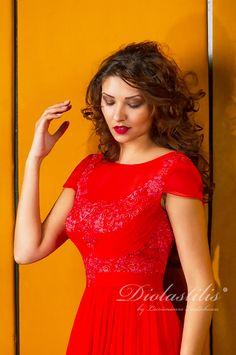Diolastilis dress - by Lacramioara Iordachescu One Shoulder, Formal Dresses, Red, Fashion, Dresses For Formal, Moda, Formal Gowns, Fashion Styles, Formal Dress