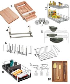 """10 Kitchen Cabinet Organizing Tools"", featuring the GRUNDTAL magnetic containers and the VARIERA pot lid organizer."