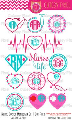 13 Nurse monogram Svg cutting file nurse Desings by CutesyPixel Cricut Monogram, Free Monogram, Monogram Frame, Cricut Vinyl, Svg Files For Cricut, Nurse Monogram Decal, Nurse Decals, Cricut Air, Car Monogram