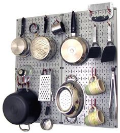 Wall Control Kitchen Pegboard Organizer Pots and Pans Pegboard Pack Storage and Organization Kit with Grey Pegboard and Red Accessories by Wall Control, http://www.wallcontrol.com/kitchen-pegboard-organizer-kit-pots-pans-rack-gray-pegboard-red-hooks/