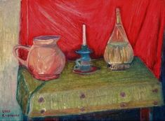 "Saatchi Art Artist Filip Szczuko; Painting, ""Still life with olive green tablecloth"" #art"