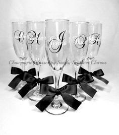 4 Personalized Wedding Glasses by SimplySouthernCharms, $48.00