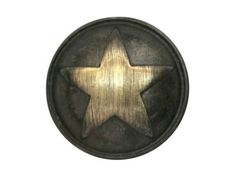 Polished Star 1 inch Metal Button Antique Brass Color