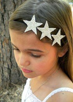 Silver Glitter Star Headband - three silver stars on a skinny black elastic headband