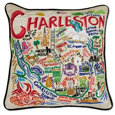 Embroidered Charleston Pillow