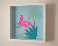 Paper pink and blue flamingo papercut illustration | Chloe Fleury