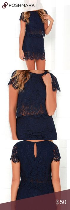 Two piece navy lace dress Gorgeous two piece navy lace dress. Great to wear as a wedding guest or any dressy occasion. Lulu's Dresses Mini