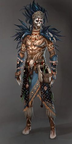 Character design and concept development - Guild Wars Voodoo Male YeeWu Fantasy Character Design, Character Concept, Character Inspiration, Character Art, Dnd Characters, Fantasy Characters, Dark Fantasy, Fantasy Art, Tribal Warrior