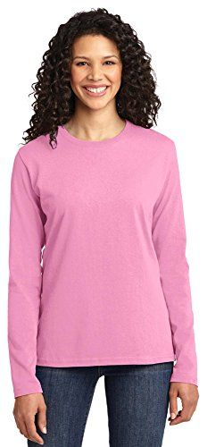 Port  Company Ladies Long Sleeve 100 Cotton TShirt Candy Pink XXXXLarge -- Click image for more details.(This is an Amazon affiliate link and I receive a commission for the sales)