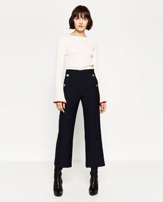 Image 2 of GOLD BUTTON TROUSERS from Zara