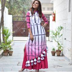 New stylish and trendy kurti neck designs - ArtsyCraftsyDad Kurti Neck Designs, Kurti Designs Party Wear, Blouse Designs, Stylish Dresses For Girls, Stylish Dress Designs, Indian Gowns Dresses, Pakistani Dresses, Indian Designer Suits, Tie Dye Dress