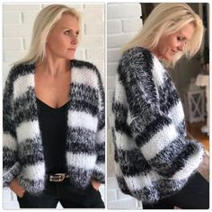 One size Overvidde 120 cm Lengde ca 70 cm Ermlengde 43 cm Pinne 7 og 12 Uw plek om alle dingen handgemaakt te kopen en te verkopen Best knitting patterns cardigan beautiful ideas – There are lace motif long dresses that women who want to … Mohair Sweater, Knit Cardigan, Winter Tops, Winter Skirt, Sweater Knitting Patterns, Boho Outfits, Crochet Clothes, Look Fashion, Knitted Hats