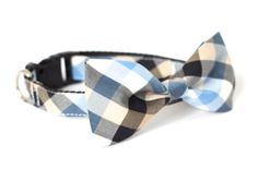 Dog cat bow tie collar  Blue check by usagiteam on Etsy, $29.00