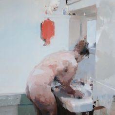 "Alex Kanevsky ""Blue Bathroom"" 36"" x 36"", oil on board"