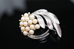 Silver Pearl Brooch pin faux cream pearls with silver-tone