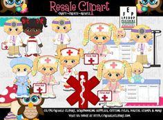 Imágenes Prediseñadas de SCRAPBOOKING DIGITAL - médico y Enfermera rubia