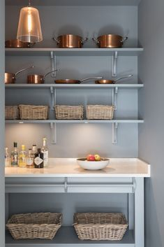 Our Longford Pantry in the Humphrey Munson showroom in Felsted, Essex has beautiful handmade cabinetry painted in a cool and calm grey colour palette. Kitchen Pantry Cupboard, Small Kitchen Pantry, Pantry Room, Open Plan Kitchen Living Room, Kitchen Pantry Design, Kitchen Store, Country Kitchen, Kitchen Interior, New Kitchen
