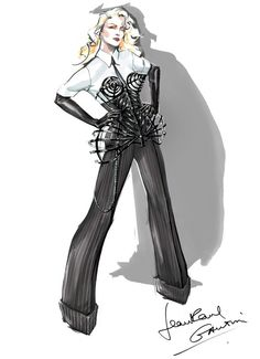 Gaultier is such a genius! What's Madonna Wearing For Her MDNA Tour? Jean Paul Gaultier, Jeremy Scott and Alexander Wang! Madonna Vogue, Madonna Fashion, Madonna Art, Fashion Moda, Fashion Art, Fashion News, Fashion Design, Fashion Trends, Emo Fashion