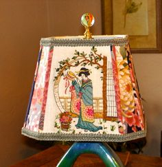 Asian lamp shade hollywood regency lamp asian decor chinoiserie asian decor fabric lampshade geisha lamp shade vintage hand done crewel work embroidery oriental style lamps aloadofball Image collections