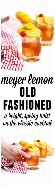 Simple, meyer lemon old fashioned recipe! A bright and refreshing spin on the classic old fashioned cocktail with rye, bourbon, or whiskey. // Rhubarbarians #oldfashioned #cocktails #springcocktail #meyerlemon