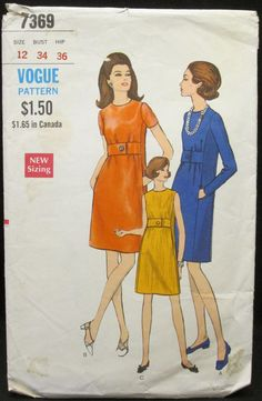 Vintage Vogue sewing pattern 7369 dress size 12 A-line, 1960s 60s Jackie O, Free US shipping