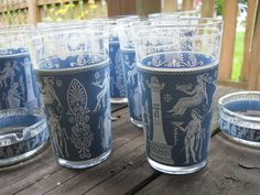 VINTAGE 10 Piece Set of Blue & White by VeiledThroughTime on Etsy, $40.00