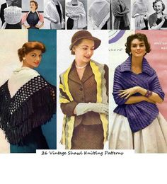 26 Vintage Shawl Knitting Patterns from the 1940's by Craftdrawer, $3.99