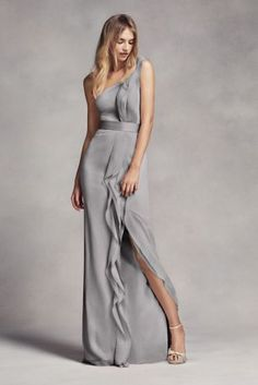 This long chiffon bridesmaid dress is a work of art with waves of ruffles that fall from the one-shoulder neckline to the floor.   White by Vera Wang, exclusively at David's Bridal  Polyester  Back zipper; fully lined  Dry clean  Imported