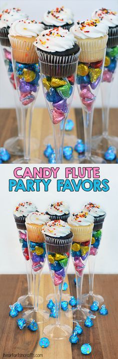 Candy Filled Flute Birthday Party Favors #LetsBirthday #ad