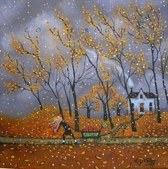 Apple Harvest a small Autumn Fall Leaves, Stormy Skies Snow Original by Deborah… Autumn Art, Autumn Leaves, Autumn Scenes, Fall Pictures, Halloween Art, Whimsical Art, Belle Photo, Graphic, Painting Inspiration
