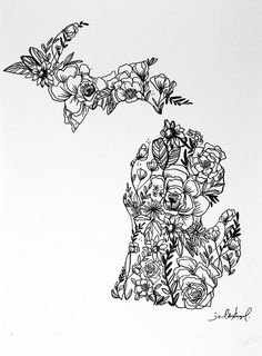 Simple and delicate art print of black and white floral designs inside the shape of Michigan. This is Perfect for any gallery wall, bedroom or any other home decor! - It is printed on 110 weight paper - Easily framable size- - Ships in business days Michigan Tattoos, Simple Designs, Floral Designs, Art Festival, Flower Tattoos, Tattoo Inspiration, Hair And Nails, Tattoo Designs, Tattoo Ideas