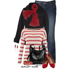 """Red Stripes"" by amo-iste on Polyvore"